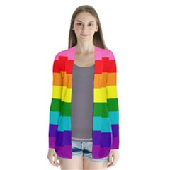 Colorful Stripes Lgbt Rainbow Flag Drape Collar Cardigan