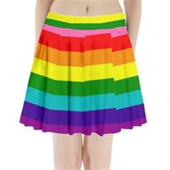 Colorful Stripes Lgbt Rainbow Flag Pleated Mini Skirt