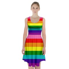 Colorful Stripes Lgbt Rainbow Flag Racerback Midi Dress