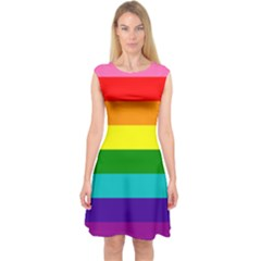 Colorful Stripes Lgbt Rainbow Flag Capsleeve Midi Dress