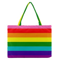 Colorful Stripes Lgbt Rainbow Flag Medium Zipper Tote Bag