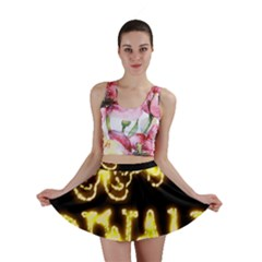 Happy Diwali Yellow Black Typography Mini Skirt
