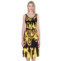 Happy Diwali Yellow Black Typography Midi Sleeveless Dress