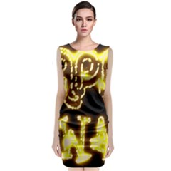 Happy Diwali Yellow Black Typography Classic Sleeveless Midi Dress
