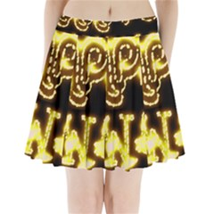 Happy Diwali Yellow Black Typography Pleated Mini Skirt