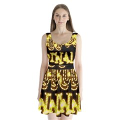 Happy Diwali Yellow Black Typography Split Back Mini Dress