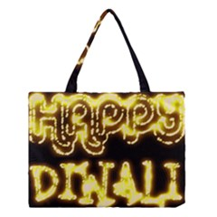 Happy Diwali Yellow Black Typography Medium Tote Bag