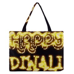 Happy Diwali Yellow Black Typography Medium Zipper Tote Bag