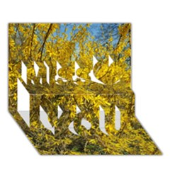 Nature, Yellow Orange Tree Photography Miss You 3d Greeting Card (7x5)