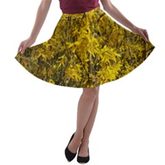 Nature, Yellow Orange Tree Photography A-line Skater Skirt