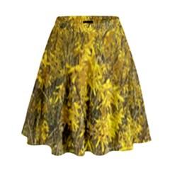 Nature, Yellow Orange Tree Photography High Waist Skirt