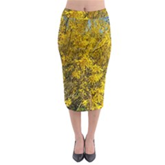Nature, Yellow Orange Tree Photography Midi Pencil Skirt