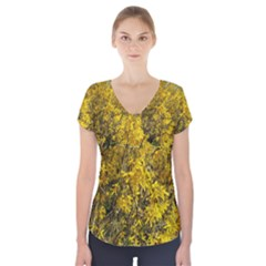 Nature, Yellow Orange Tree Photography Short Sleeve Front Detail Top