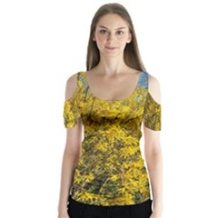 Nature, Yellow Orange Tree Photography Butterfly Sleeve Cutout Tee