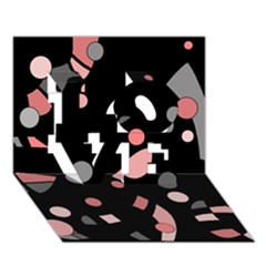 Pink and gray abstraction LOVE 3D Greeting Card (7x5)
