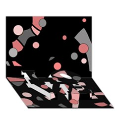 Pink and gray abstraction LOVE Bottom 3D Greeting Card (7x5)