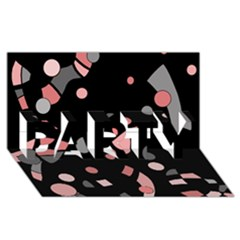 Pink and gray abstraction PARTY 3D Greeting Card (8x4)
