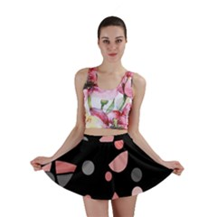 Pink and gray abstraction Mini Skirt