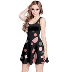 Pink and gray abstraction Reversible Sleeveless Dress