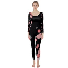 Pink and gray abstraction Long Sleeve Catsuit