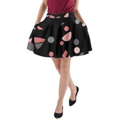 Pink and gray abstraction A-Line Pocket Skirt