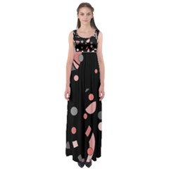 Pink and gray abstraction Empire Waist Maxi Dress
