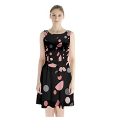 Pink and gray abstraction Sleeveless Chiffon Waist Tie Dress