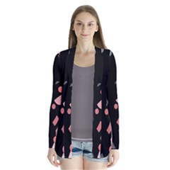 Pink And Gray Abstraction Drape Collar Cardigan