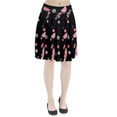 Pink and gray abstraction Pleated Skirt
