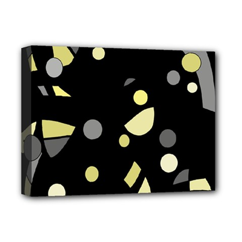 Yellow and gray abstract art Deluxe Canvas 16  x 12