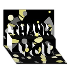 Yellow and gray abstract art THANK YOU 3D Greeting Card (7x5)