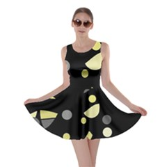 Yellow and gray abstract art Skater Dress