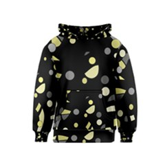Yellow and gray abstract art Kids  Pullover Hoodie