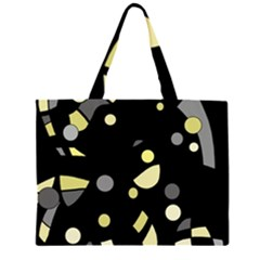 Yellow And Gray Abstract Art Zipper Large Tote Bag