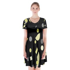 Yellow and gray abstract art Short Sleeve V-neck Flare Dress
