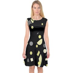 Yellow and gray abstract art Capsleeve Midi Dress