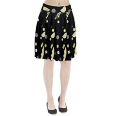 Yellow And Gray Abstract Art Pleated Skirt