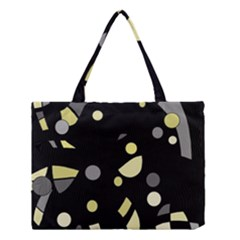 Yellow And Gray Abstract Art Medium Tote Bag