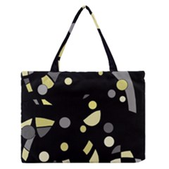 Yellow and gray abstract art Medium Zipper Tote Bag