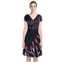 Elegant tree 2 Short Sleeve Front Wrap Dress