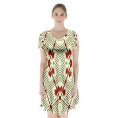Screenshot (556)kkkkk Short Sleeve V-neck Flare Dress