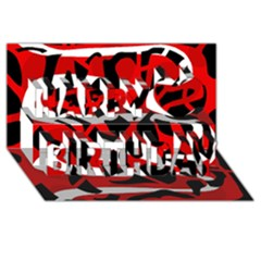 Red chaos Happy Birthday 3D Greeting Card (8x4)