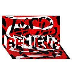 Red chaos BELIEVE 3D Greeting Card (8x4)