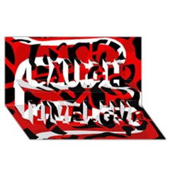 Red chaos Laugh Live Love 3D Greeting Card (8x4)