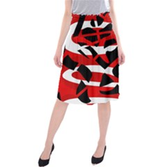 Red Chaos Midi Beach Skirt