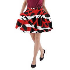 Red chaos A-Line Pocket Skirt