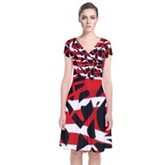Red chaos Short Sleeve Front Wrap Dress