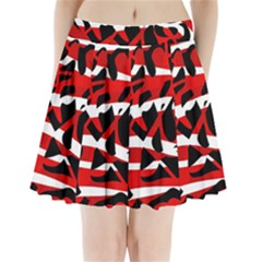 Red chaos Pleated Mini Skirt