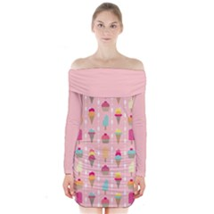 Ice Cream and Cupcake Sweet Tooth Pattern Long Sleeve Off Shoulder Dress