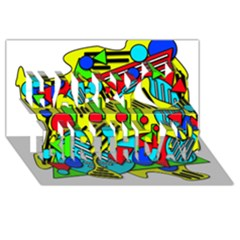 Colorful chaos Happy Birthday 3D Greeting Card (8x4)